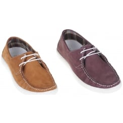 Stylish Laced Deck Shoe in Wine or Tan Nubuck