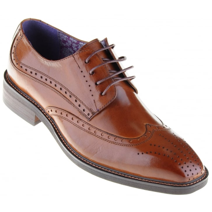 PAOLO VANDINI Stylish Tan Laced Brogue Style Shoe