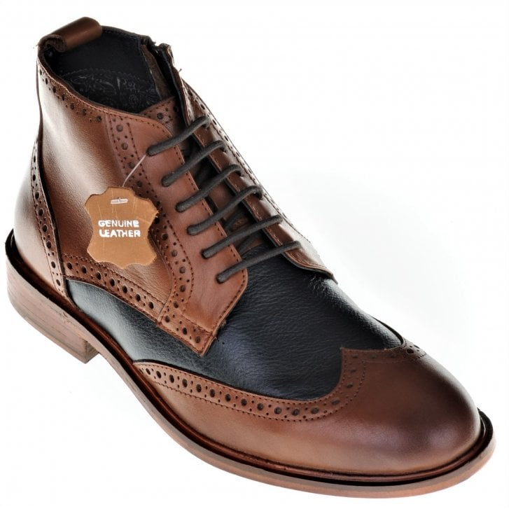 PAOLO VANDINI Tan and Navy Boot in a Brogue Style with Laces and Zip