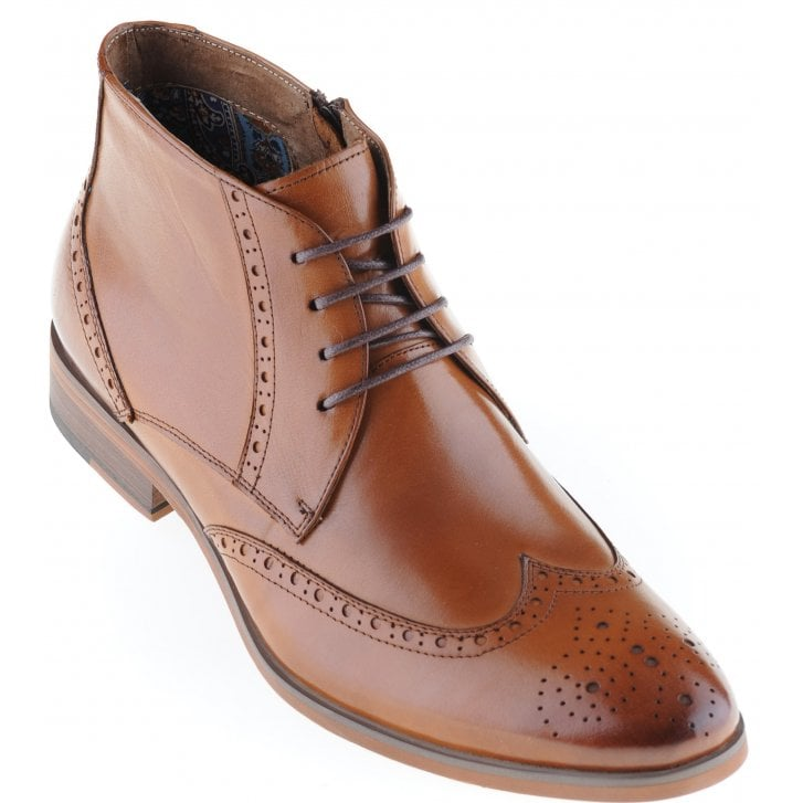PAOLO VANDINI Tan Boot in a Brogue Style with Laces and Zip