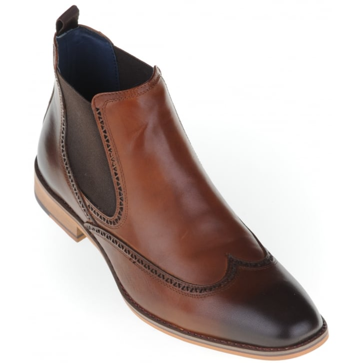 PAOLO VANDINI Tan Chelsea Boot with Stitch Detail