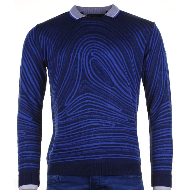 GREEN COAST Patterned Round Neck Knitwear with Removable Collar