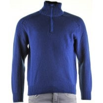 1/4 Zip Blue Wool Mix Sweater P1124