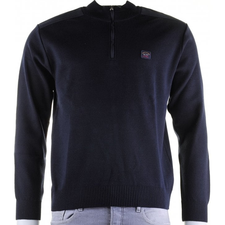 PAUL & SHARK 1/4 Zip Navy Wool Mix Sweater with Patches on Elbows and Shoulders