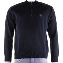 1/4 Zip Navy Wool Mix Sweater with Patches on Elbows and Shoulders