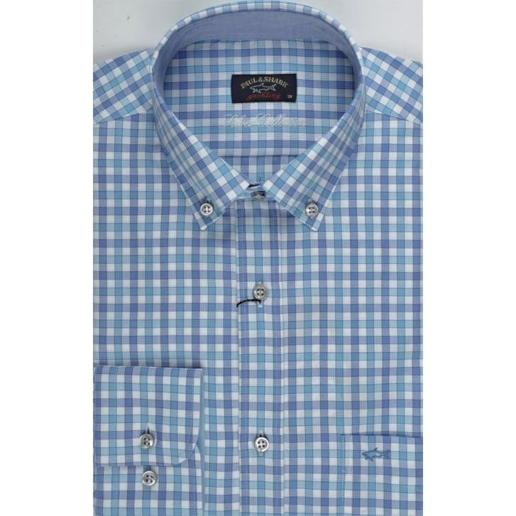 PAUL & SHARK Aqua Blue and Lilac Check Cotton Shirt with Button Down Collar