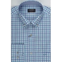 Aqua Blue and Lilac Check Cotton Shirt with Button Down Collar