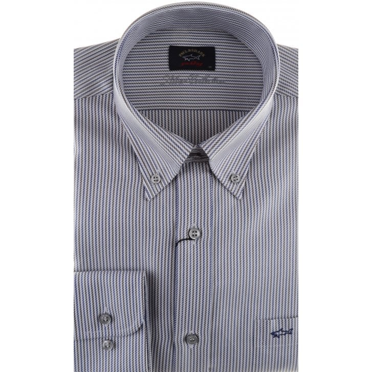 PAUL & SHARK Blue and Brown Stripe Shirt with Button Down Collar