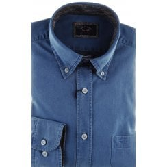 Blue Cotton Denim Shirt with Button Down Collar