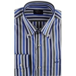 Broad Stripe Cotton Shirt with Button Down Collar