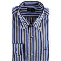 Broard Stripe Cotton Shirt with Button Down Collar