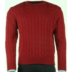 Cable Knit Navy or Red Round Neck Jumper P1084