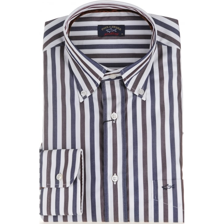 PAUL & SHARK Cotton Blue and Brown Striped Shirt