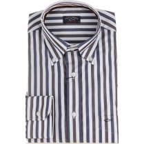 Cotton Blue and Brown Striped Shirt