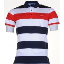 Cotton Broad Stripe Slim Cut Polo Shirt