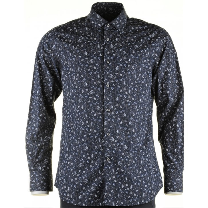 PAUL & SHARK Cotton Navy Floral Patterned Shirt