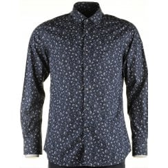 Cotton Navy Floral Patterned Shirt