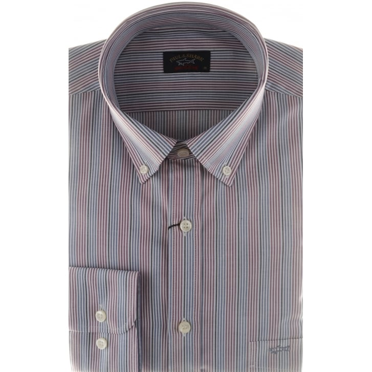 PAUL & SHARK Fine Striped Cotton Shirt with Button Down Collar