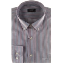 Fine Striped Cotton Shirt with Button Down Collar