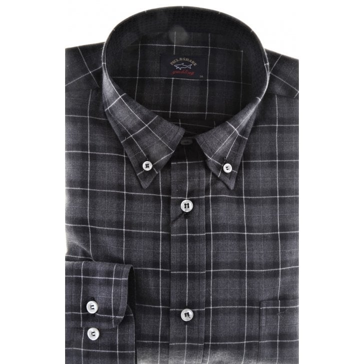 PAUL & SHARK Grey Check Cotton Shirt with Button Down Collar