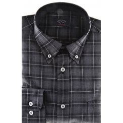 Grey Check Cotton Shirt with Button Down Collar