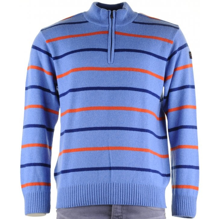 PAUL & SHARK Knitwear 1/4 Zip Lambswool Blue Striped