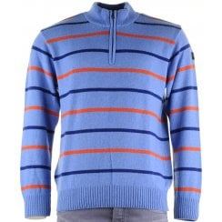 Knitwear 1/4 Zip Lambswool Blue Striped
