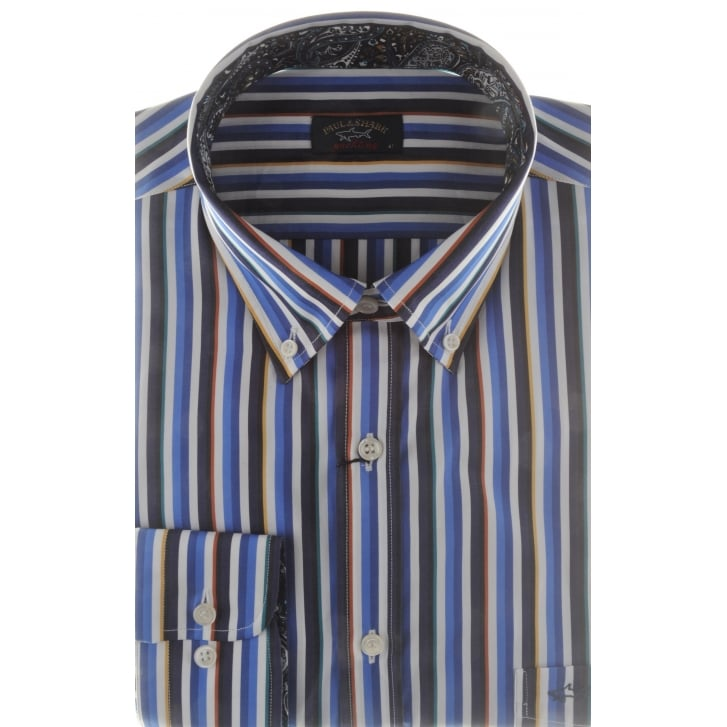 PAUL & SHARK Multi Stripe Cotton Shirt with Trim