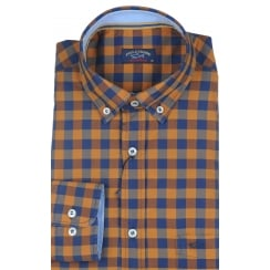 Mustard and Navy Cotton Checked Shirt P3290W