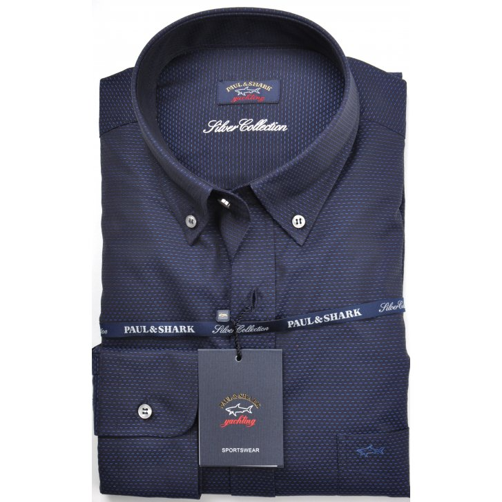 PAUL & SHARK Navy and Black Shirt with Button Down Collar