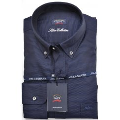 Navy and Black Shirt with Button Down Collar