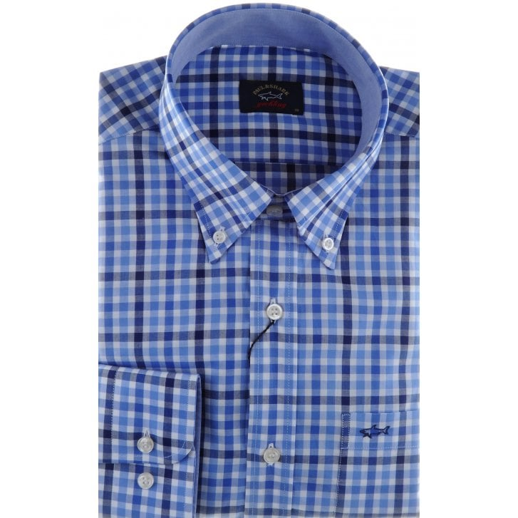 PAUL & SHARK Navy and Blue Gingham Check Cotton Shirt