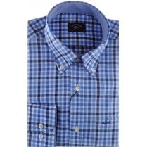 Navy and Blue Gingham Check Cotton Shirt
