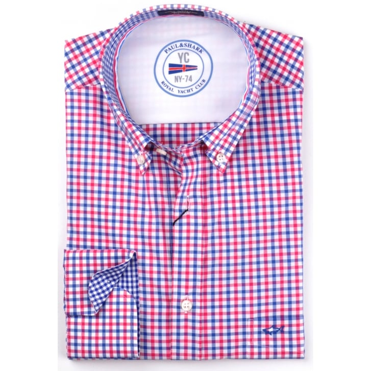 PAUL & SHARK Navy and Red Gingham Cotton Shirt