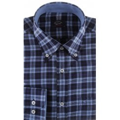 Navy Check Cotton Shirt with Button Down Collar
