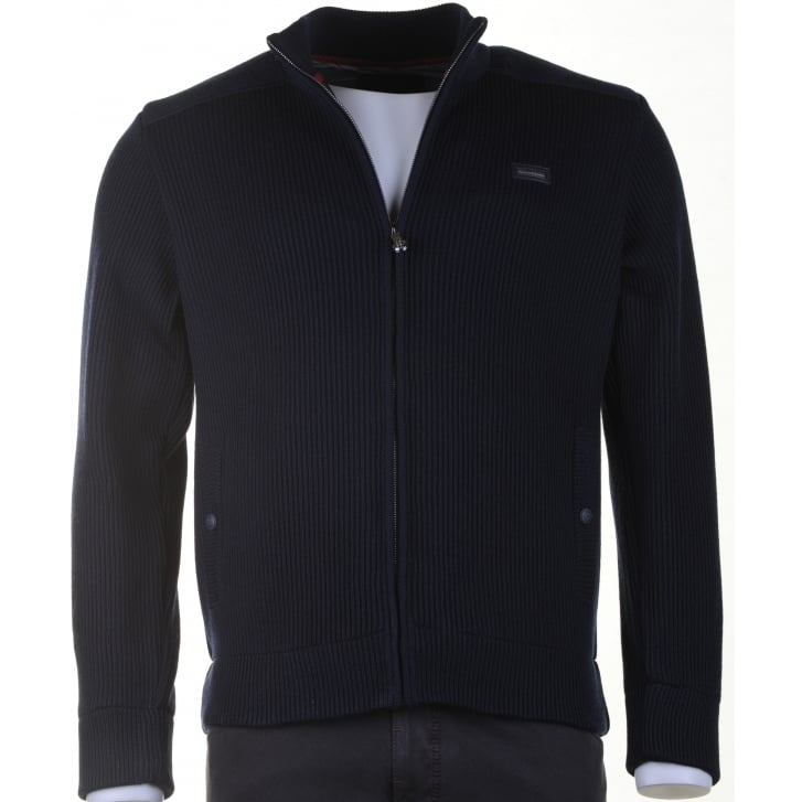 PAUL & SHARK Navy Heavy Slim Fit Knitted Blouson Lined with Zip