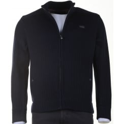 Navy Heavy Slim Fit Knitted Blouson Lined with Zip