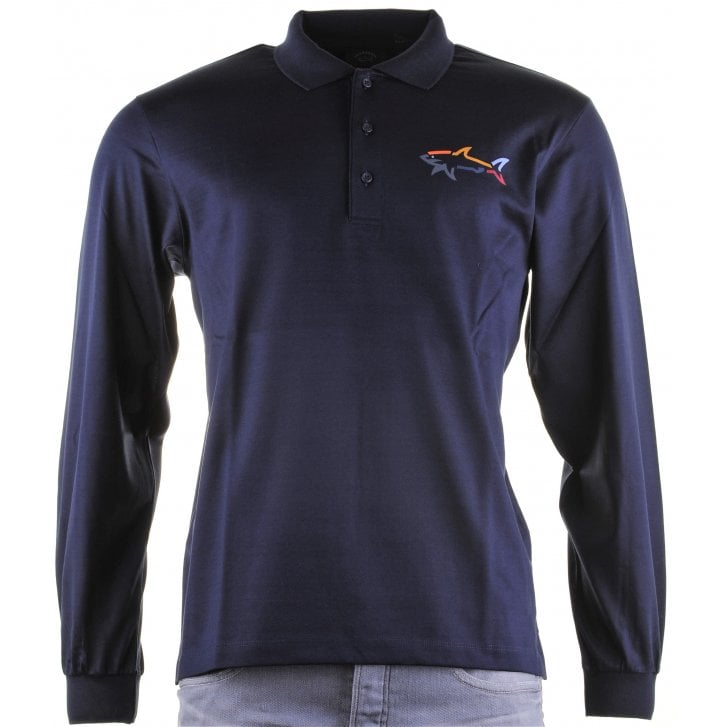 PAUL & SHARK Navy or Wine Cotton Long Sleeved Slim Fit Polo Shirt