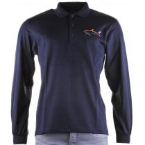 Navy or Wine Cotton Long Sleeved Slim Fit Polo Shirt