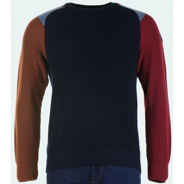 PAUL & SHARK Navy Round Neck Sweater with Coloured Sleeves