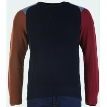 Navy Round Neck Sweater with Coloured Sleeves