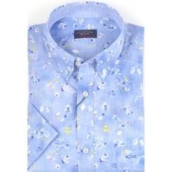 Patterned Cotton Short Sleeved Shirt
