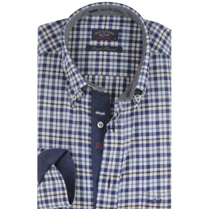 PAUL & SHARK Pure Brushed Cotton Flannel Long Sleeved Button Down Check Shirt