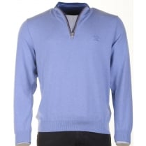 Pure Cotton 1/4 Zip Blue Sweater