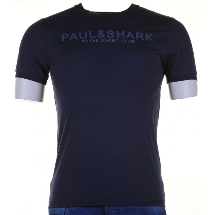 PAUL & SHARK Pure Cotton Slim Fit Navy T Shirt with Logo