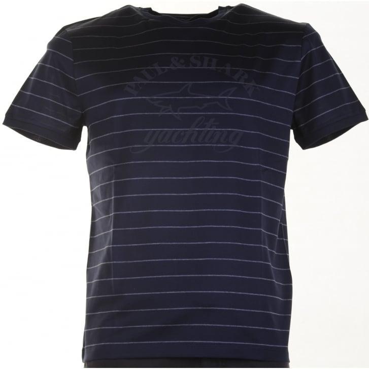 PAUL & SHARK Pure Organic Cotton Navy Striped Slim Fit T Shirt