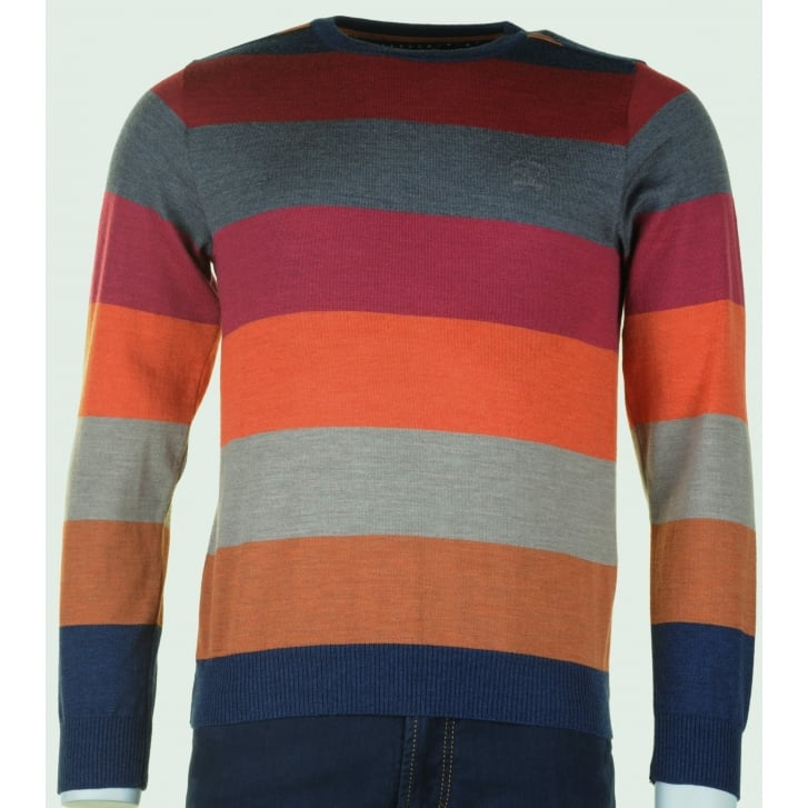 PAUL & SHARK Pure Wool Light Weight Round Neck Slim Fit Striped knitwear