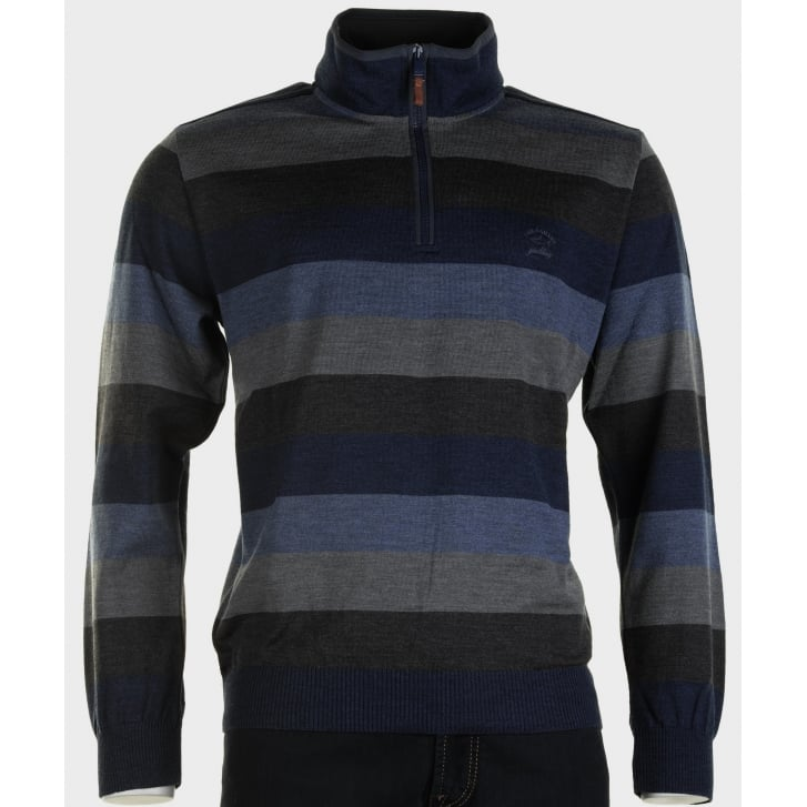 PAUL & SHARK Pure Wool Striped Knitwear with 1/4 Zip