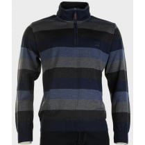 Pure Wool Striped Knitwear with 1/4 Zip