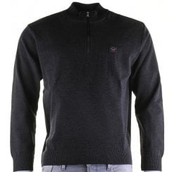 Quality 1/4 Zip Charcoal Knitwear with Patches